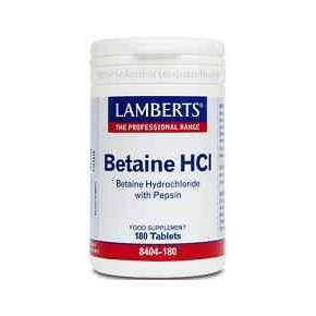 Betaina HCL 324 mg Lamberts 180 tabletas
