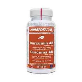 Curcuma Complex Airbiotic 60 cápsulas - Pimienta y Bromelina