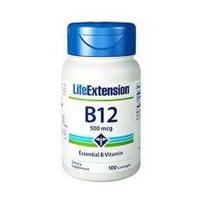 B12 Sublingual Life Extension 500 mcg 100 pastillas