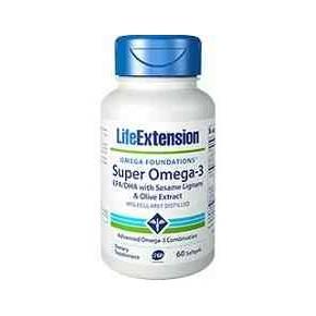 Super Omega 3 Life Extension EPA/DHA con lignanos y extracto de oliva 60 cápsulas