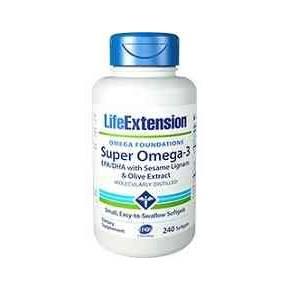 Super Omega 3 Life Extension EPA/DHA con lignanos y extracto de oliva 240 cápsulas