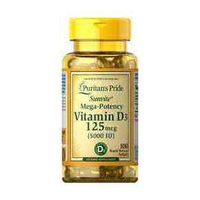 Vitamina D3 5000 UI Puritans Pride 100 cápsulas