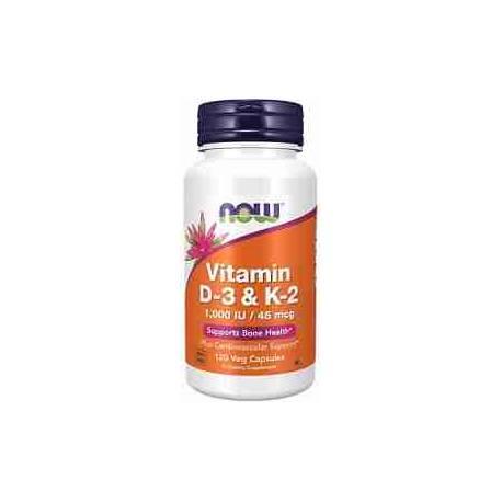 Vitamina D3 1000 UI y K2 45 mcg Now 120 cápsulas